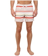Lacoste Poplin Horizontal Stripe Swim Short 5 Fall Orange White Gold Silex Green Trianon Pink Men's Swimwear