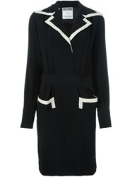 Moschino Vintage Contrast Trim Tailored Dress Black