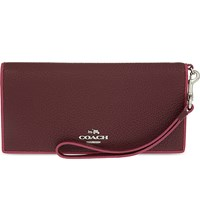 Coach Edgestain Slim Leather Wallet Sv Burgundy Cerise