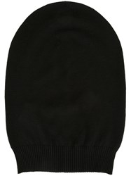 Rick Owens Ribbed Trim Beanie Black