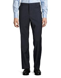 Hugo Genius Wool Straight Leg Pants Dark Blue