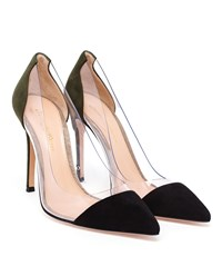 Gianvito Rossi Plexi Pumps Black Forest Green Silver