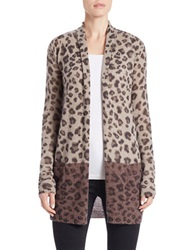 Ply Cashmere Open Front Leopard Print Cashmere Cardigan Brown Combo