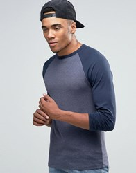 Asos Muscle Long Sleeve T Shirt With Contrast Raglan Navy Blue