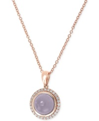 Effy Collection Effy Chalcedony 1 4 5 Ct. T.W. And Diamond 1 7 Ct. T.W. Round Pendant Necklace In 14K Rose Gold