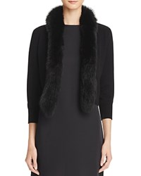 Bloomingdale's C By Fur Trim Cashmere Cardigan Black