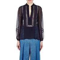 Gabriela Hearst Women's Chiffon Blouse Navy