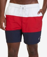Nautica Men's Big And Tall Quick Dry Colorblocked Swim Trunks Racer Red