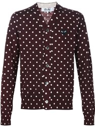 Comme Des Gara Ons Play Polka Dot Cardigan Red