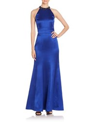 Kay Unger Solid Sleeveless Gown Cobalt