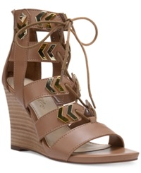 Fergie Finnick Lace Up Wedge Sandals Women's Shoes Tan