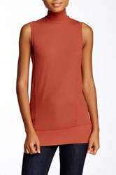 Heather By Bordeaux Ribbed Mock Neck Tank Red