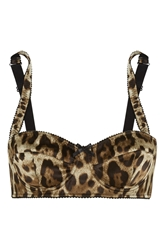 Dolce And Gabbana Leopard Print Stretch Silk Satin Balconette Bra