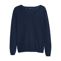 Mango V Neck Sweater Jumper Navy