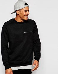 New Look Military Style Sweatshirt In Black With Zip Detail