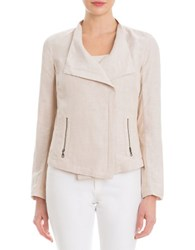 Nic Zoe Petites Stretch Linen Moto Jacket Brown