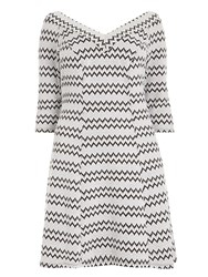 Evans White Printed Hourglass Fit Dress Black