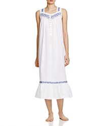Eileen West Embroidered Ballet Nightgown Solid White Navy Embroidery