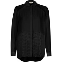 River Island Womens Black Mesh Panel Relaxed Shirt