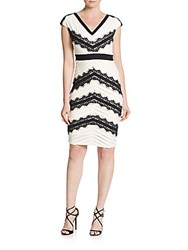 Jax Lace Embroidered Bandage Dress Bisque