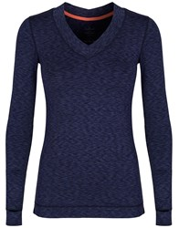 Cuddl Duds Long Sleeve V Neck Top Navy