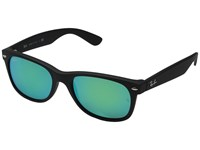 Ray Ban Rb2132 New Wayfarer 55Mm Rubber Black Frame Grey Mirror Green Lens Fashion Sunglasses