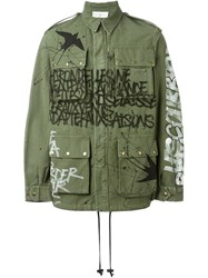 Faith Connexion Graffiti Print Cargo Jacket Green