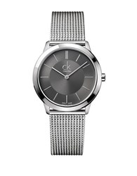 Calvin Klein Mens Swiss Minimal Stainless Steel Bracelet Watch Silver