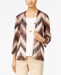 Alfred Dunner Necklace Layered Look Top Multi