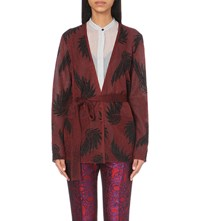 Dries Van Noten Jengo Intarsia Knit Cardigan Wine