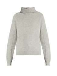 Joseph High Neck Boiled Wool Sweater Light Grey