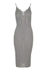 Topshop Striped Lace Up Midi Dress Navy Blue