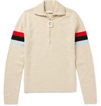 J.W.Anderson Striped Wool Half Zip Sweater Beige