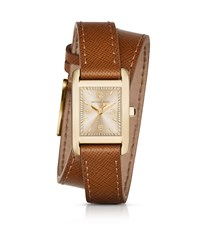 Michael Kors Taylor Gold Tone And Leather Wrap Watch