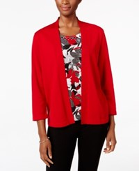 Alfred Dunner Floral Inset Layered Look Sweater