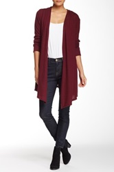 Yuni Hi Lo Hooded Open Drape Cardigan Red