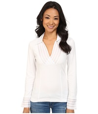 Nic Zoe Pleated V Top Paper White 2 Women's Long Sleeve Pullover