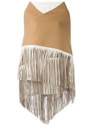 Agnona Fringed Wide Scarf Nude And Neutrals