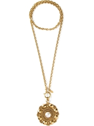 Chanel Vintage Oversized Pendant Necklace Metallic