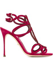 Sergio Rossi Embellished Strappy Sandals Pink And Purple