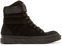 D By D Black Faux Fur High Top Sneakers
