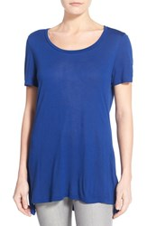Women's Halogen Side Slit Long Scoop Neck Tee Blue Mazarine