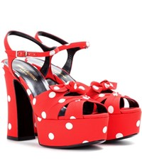 Saint Laurent Candy 80 Bow Platform Sandals Red