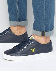 Lyle And Scott Teviot Leather Trainers Blue Navy