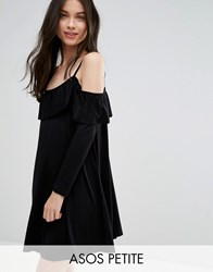 Asos Petite Swing Dress With Frill Cut Out Shoulder Detail Black