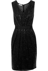 Moschino Cheap And Chic Sequined Crepe And Open Knit Dress Black