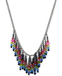 Macy's M. Haskell Hematite Tone Multi Colored Bead Fringe Necklace