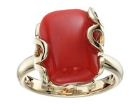 Miseno Sea Leaf Yellow Gold Cushion Cut Ring Coral Yellow Gold Ring Red