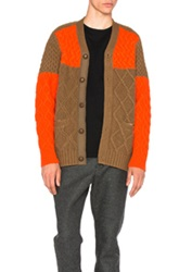 Sacai Cable Knit Cardigan In Brown Orange