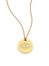 Roberto Coin Tiny Treasures Diamond And 18K Yellow Gold Evil Eye Disc Pendant Necklace